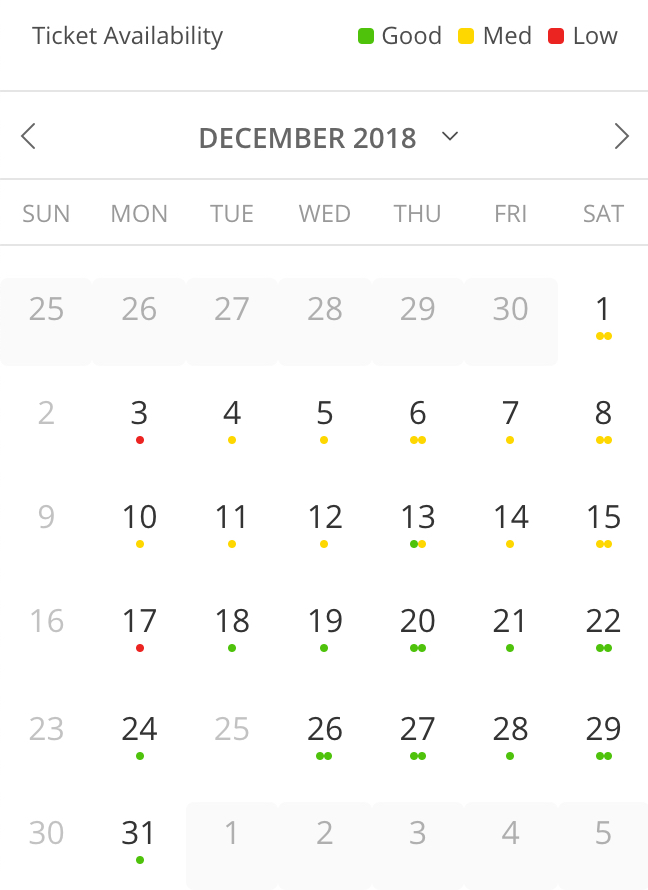 The calendar uses color-coded dots to show the availability of dates